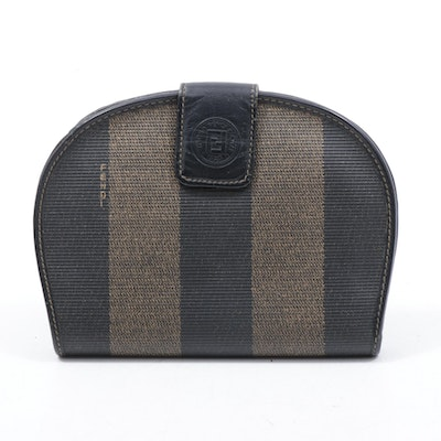 Fendi Pequin Striped Coated Canvas and Leather Wallet