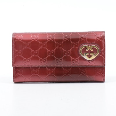 Gucci Guccissima Red Metallic Patent Leather GG Heart Logo Wallet