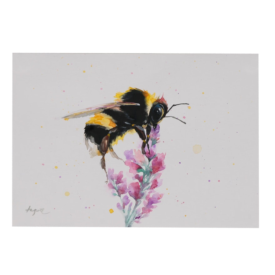 Anne Gorywine Watercolor Painting of Bee and Flower