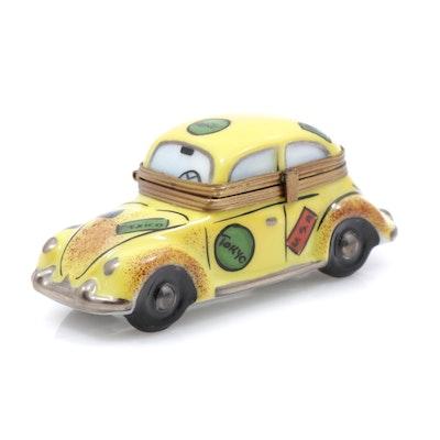La Gloriette Hand-Painted Porcelain Taxi Cab Limoges Trinket Box