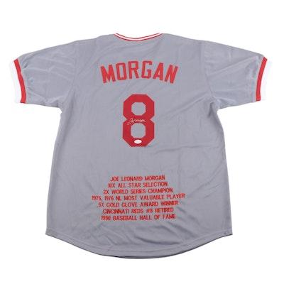 """Joe Morgan Cincinnati Reds Signed """"Career Stats"""" Baseball Jersey, JSA COA"""