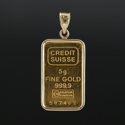 14K Yellow 5-Gram Gold ingot issued by Credit Suisse Pendant