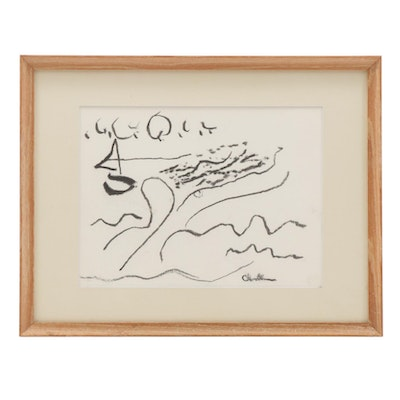 Paul Chidlaw Abstract Coastal Landscape Charcoal Drawing, 20th Century