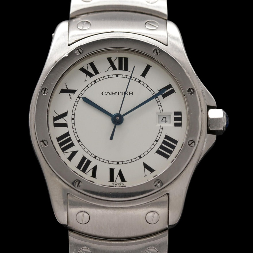 Cartier Santos Ronde Stainless Steel Quartz Wristwatch