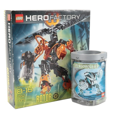 "LEGO Hero Factory Rotor ""Retired"" and Bionicle Kohrak Building Sets in Packaging"