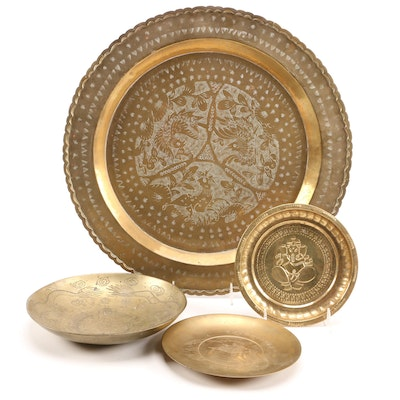 Chinese Brass Charger, Chinese Brass Bowl, and Other Decorative Plates