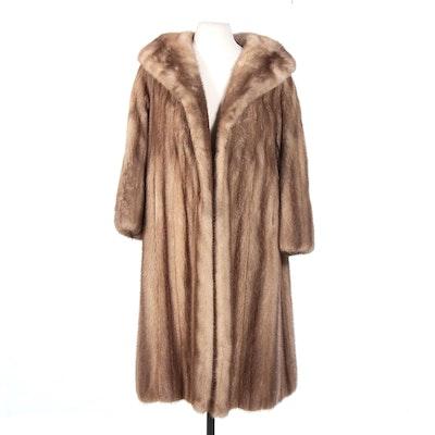 Mink Fur Swing Coat with Shawl Collar, Vintage