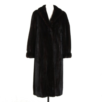 Dark Mink Fur Coat with Banded Cuffs by Mitchell Fur Co.