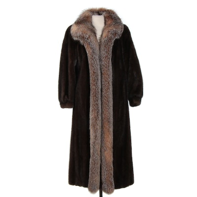 Mink and Crystal Fox Fur Long Coat with Banded Cuffs from Evans Furs