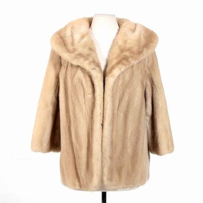 Blonde Mink Fur Stroller with Shawl Collar, Vintage