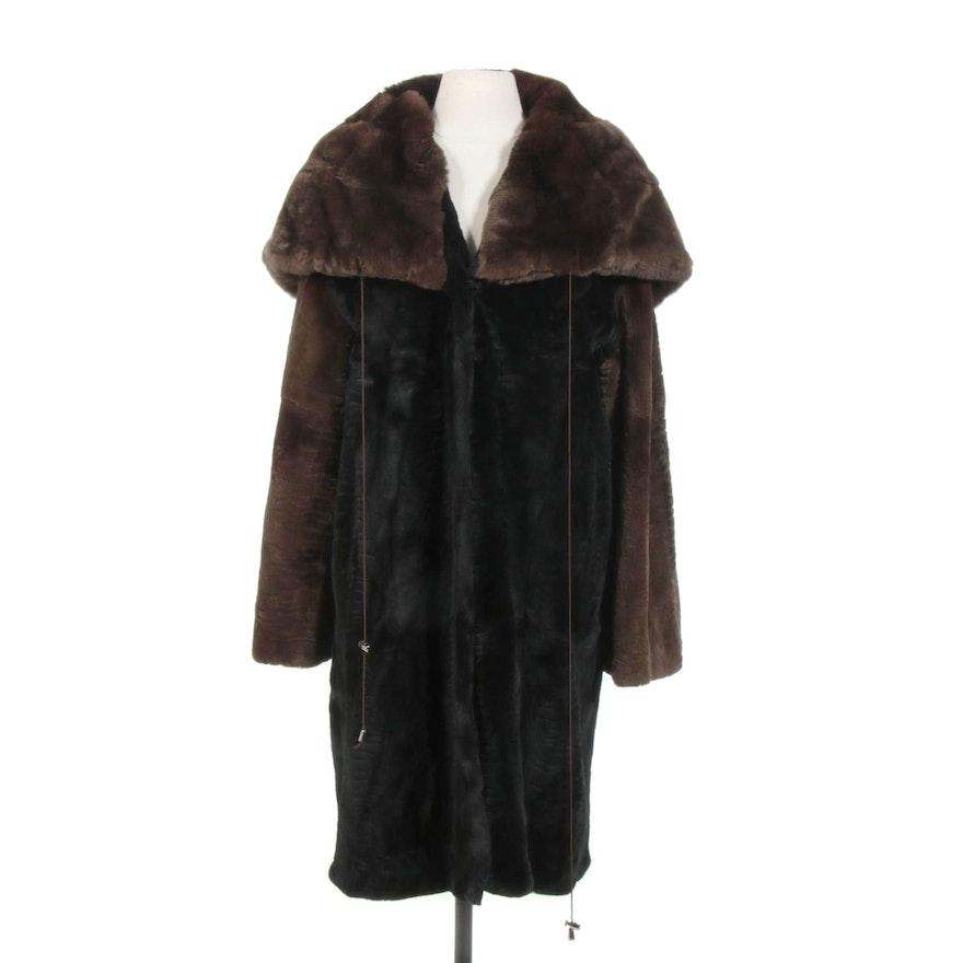 Hooded Sheared Rex Rabbit Fur Cape Coat