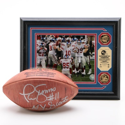 Phil Sims Signed Football and 2008 Super Bowl Champs Highland Mint Medallions