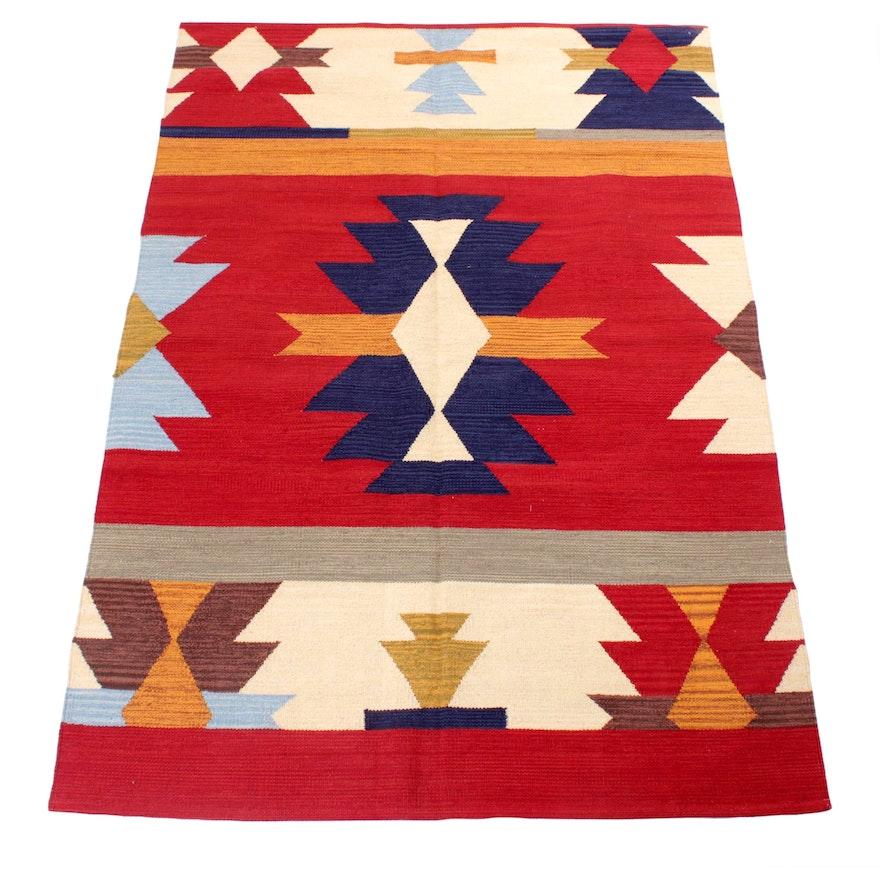 4'7 x 6'9 Handwoven Turkish Village Kilim Rug
