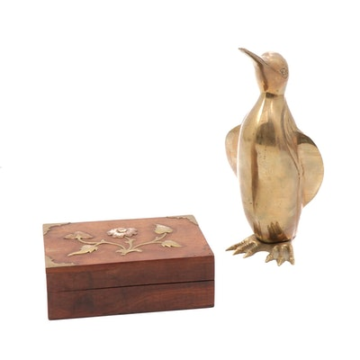Brass Penguin Sculpture and Hand-Crafted Copper and Brass Embellished Box