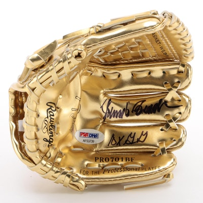 Johnny Bench Signed Rawlings Mini Replica Model Gold Glove, PSA/DNA COA