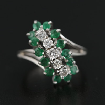14K White Gold Diamond and Emerald Bypass Ring