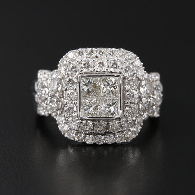 14K White Gold 2.90 CTW Diamond Ring