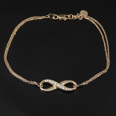 10K Yellow Gold Cubic Zirconia Infinity Pendant Bracelet