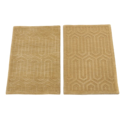 2'1 x 3' Hand-Knotted Indian Modernist Style Sculpted Rugs, 2000s