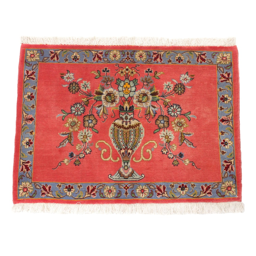 2'6 x 3'1 Hand-Knotted Persian Tabriz Silk Blend Pictorial Rug, 1970s