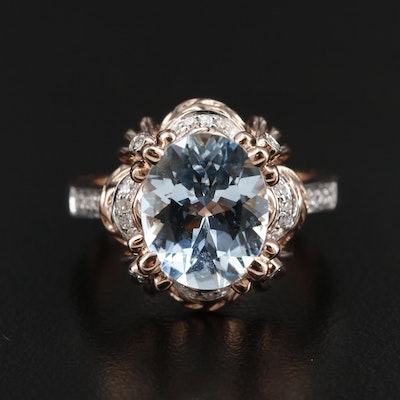14K Rose Gold 3.17 CT Aquamarine and Diamond Ring