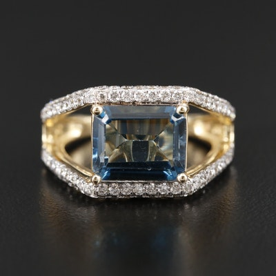 14K Yellow Gold Topaz and 1.06 CTW Diamond Scrollwork Ring