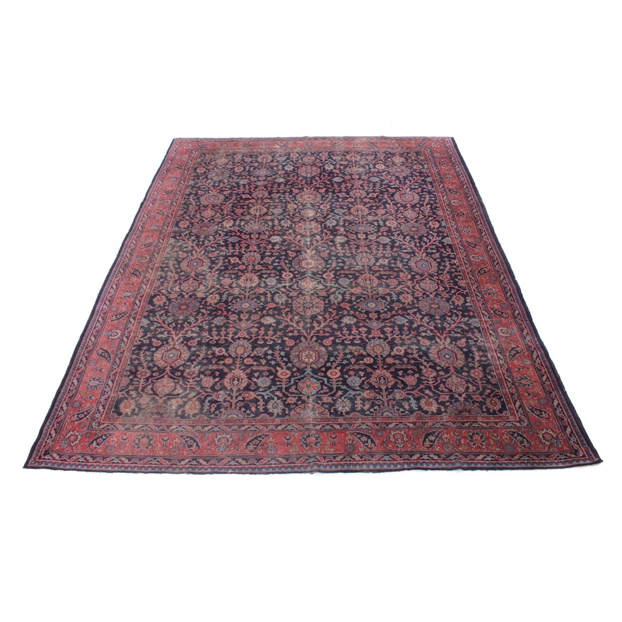 9'2 x 11'6 Hand-Knotted Turkish Oushak Rug, 1920s