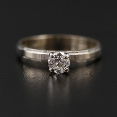 14K White and Yellow Gold 0.25 CT Diamond Solitaire Ring