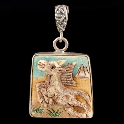 """Chinese Sterling Silver Carved Bone """"Year of the Horse"""" Zodiac Pendant"""