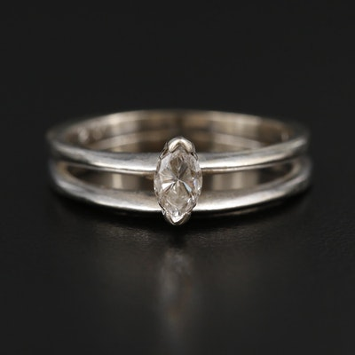 14K White Gold 0.27 CT Diamond Solitaire Ring