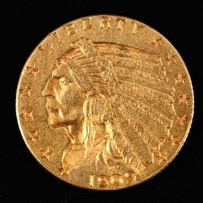 1909 Indian Head $2.50 Gold Quarter Eagle Coin