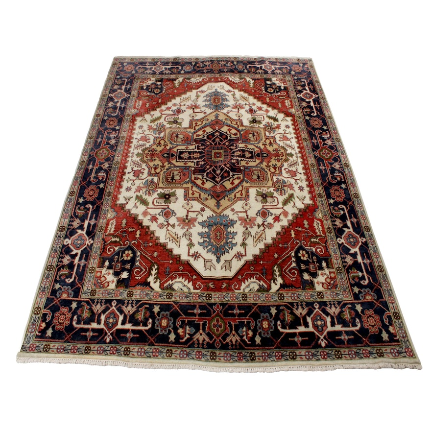 9' x 11'10 Hand-Knotted Indo-Persian Heriz Serapi Room-Size Rug, 2010s