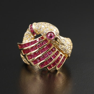 18K Yellow Gold Ruby and Diamond Swan Motif Ring