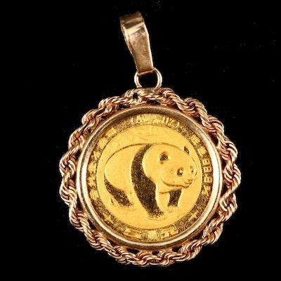 1983 China 5-Yuan Gold Panda Bullion Coin in a 14K Bezel