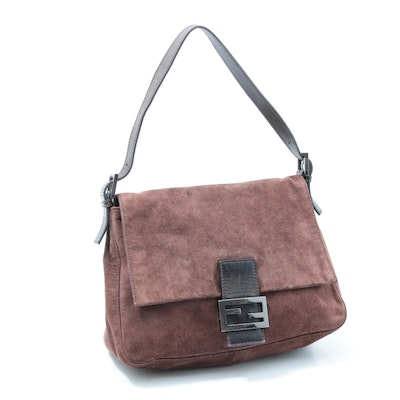 Fendi Brown Suede Flap Front Shoulder Bag Trimmed in Leather