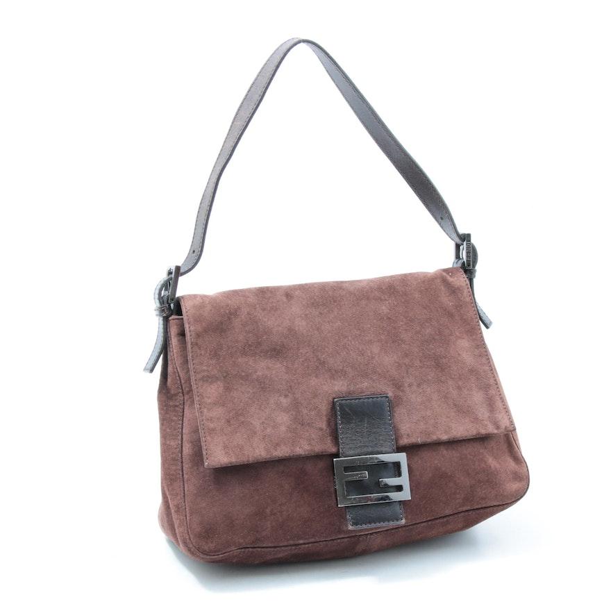 Fendi Brown Suede Flap Front Shoulder Bag Trimmed in Leather