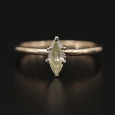14K Yellow Gold 0.29 CT Diamond Solitaire Ring