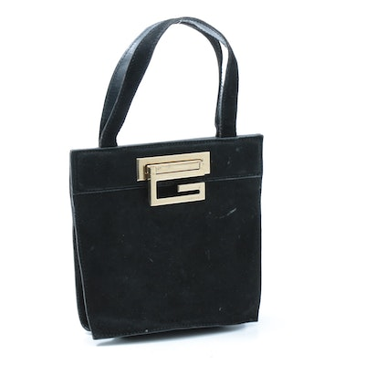 Gucci Black Suede Logo Lock Top Handle Bag Trimmed in Leather