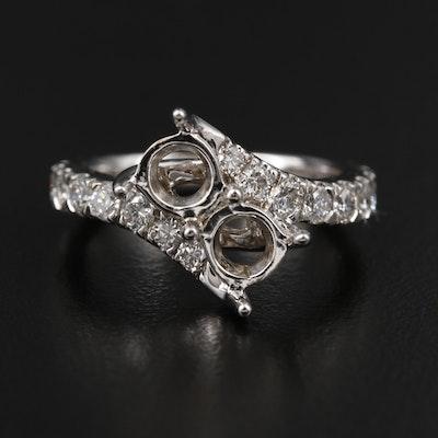 14K White Gold Diamond Semi-Mount Bypass Ring
