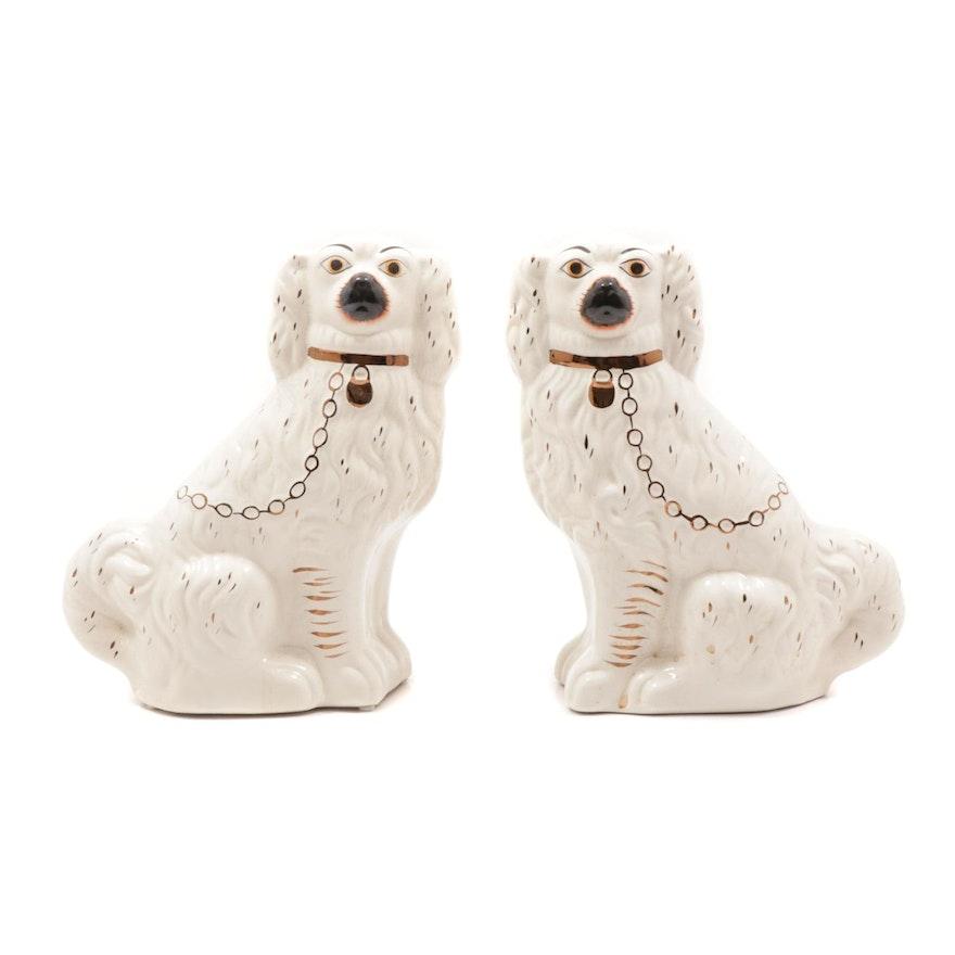 Staffordshire Style Ceramic Spaniel Figurines, Early 20th Century