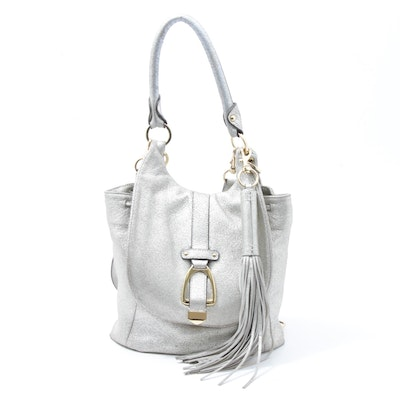 G.I.L.I. Got It Love It Metallic Silver Leather Convertible Backpack with Tassel