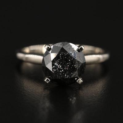 14K White Gold 3.07 CT Black Diamond Solitaire Ring