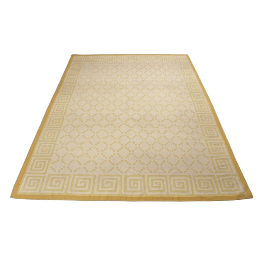 9' x 12' Handwoven Indo Kilim Room Sized Rug