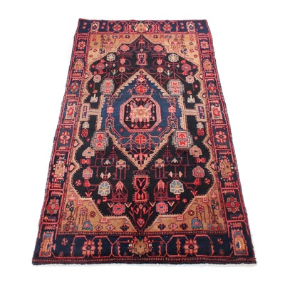 4'10 x 8'8 Hand-Knotted Persian Nahavand Rug, 1970s
