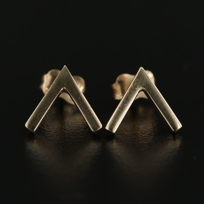 "14K Yellow Gold ""V"" Stud Earrings"