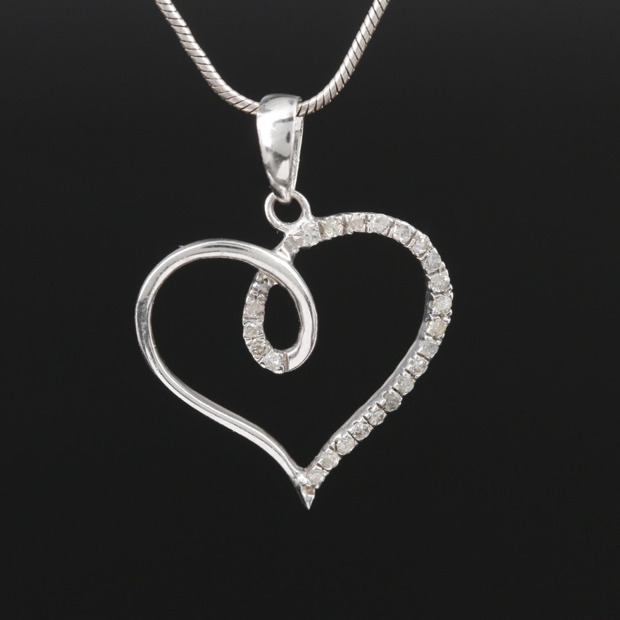 Sterling Silver Diamond Heart Pendant on Snake Chain