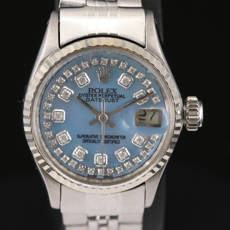 Rolex Datejust Stainless Steel and 14K Gold Diamond Dial Wristwatch, 1967