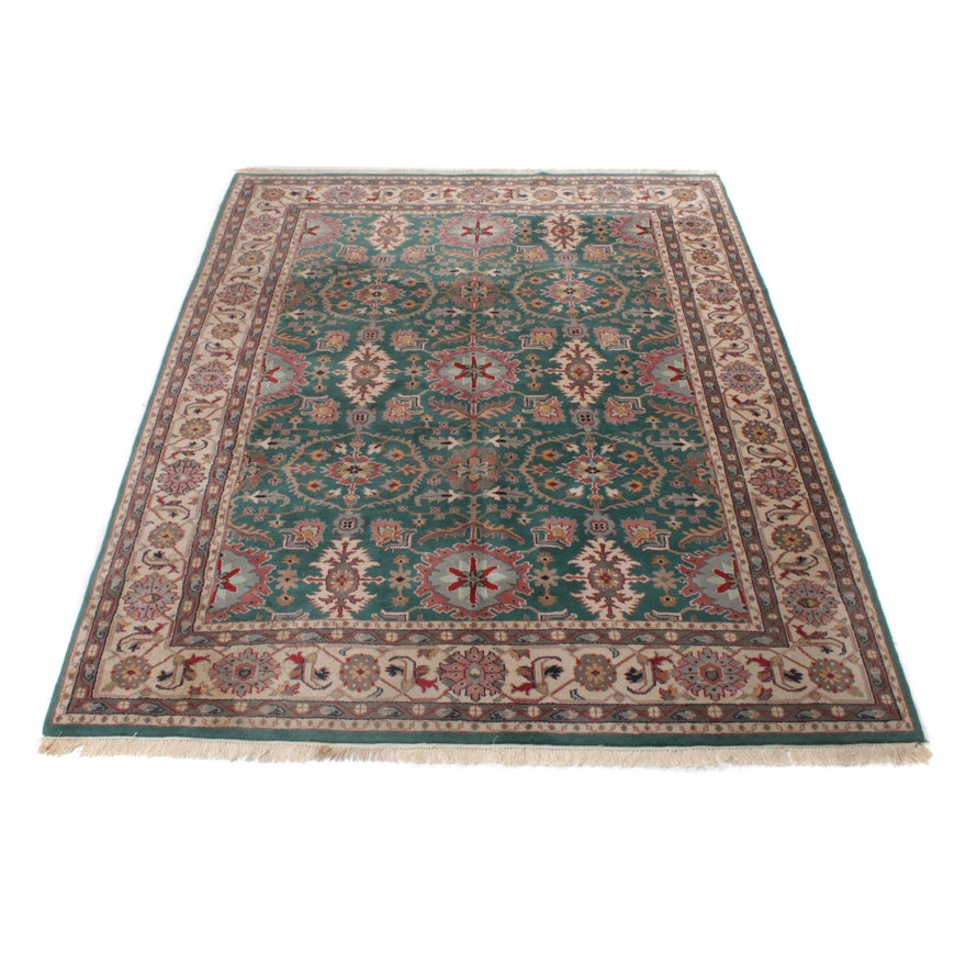 7'9 x 10' Hand-Knotted Indo Persian Heriz Room Sized Rug