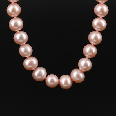 Strand of Pink Pearls with 14K Yellow Gold Clasp