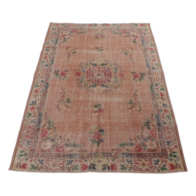 6'4 x 9 Hand-Knotted Chinese Art Deco Room Sized Rug